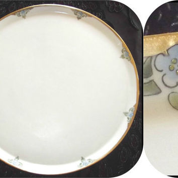 "Vintage 19th C Limoges FRANCE Large Hand Painted Platter Flowers Gold Leaf 13.5"" Antique Porcelain Tray Plate T & V"