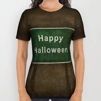 Scary Happy Halloween Roag Sign All Over Print Shirt by Bruce Stanfield | Society6