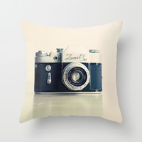 Film Camera Zenit 3M Throw Pillow by Andrea Caroline