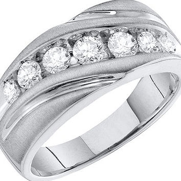 Diamond Fashion Mens Band in 10k White Gold 1 ctw