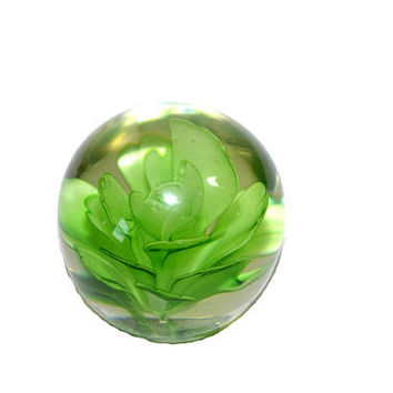 Vintage Glass Paperweight Green Cactus Flower Paperweight Round Globe Paperweight Desk Accessory