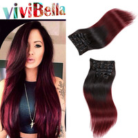 Vivi Bella Clip In Human Hair Extensions Burgundy Ombre
