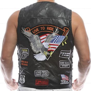 Vest Leather Men Waistcoat Embroidery Halley Motorcycle Riding Punk Hip hop Sheep skin Wind proof warmth retention Ventilation