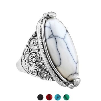 Unisex Natural Turquoise Stone Finger Ring Fashion Jewelry Vintage Look Tibetan Alloy Antique Silver Plated Personality Oval Tur
