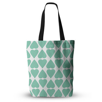 """Project M """"Mint Diamond Hearts"""" Everything Tote Bag"""
