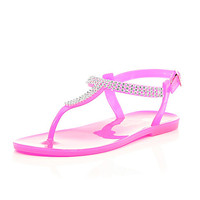 River Island Girls pink gem barely there jelly sandals