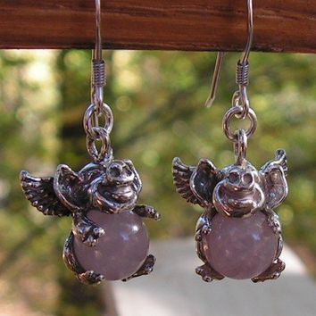 Sterling Silver Flying Pig Earrings With Rose by westernmountain