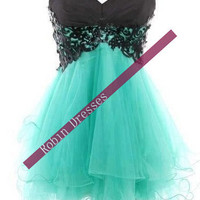 Prom Dresses 2014, New Custom Strapless Sweetheart Short Lace Blue Prom Dresses Homecoming Dresses Party Dresses