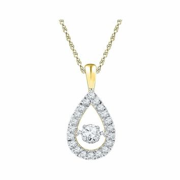 10kt Yellow Gold Women's Round Diamond Moving Twinkle Solitaire Teardrop Pendant 3-8 Cttw - FREE Shipping (US/CAN)