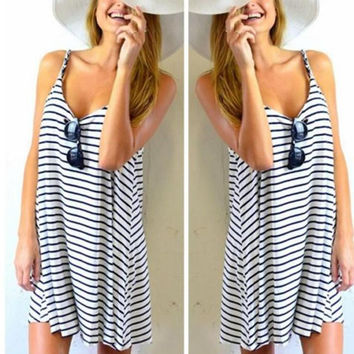 summer dress 2016 black and white striped dresses Women Sleeveless Loose Mini Beach Casual Dress Sundress vestidos de mujer