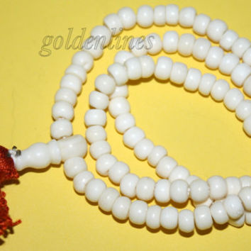 Yak bone prayer beads Tibetan Mala meditation prayer beads Tibet prayer beads yoga beads Om Buddhist prayer beads Om prayer beads 4
