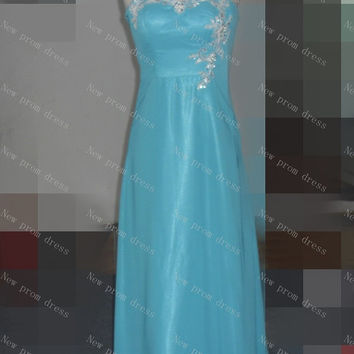 Fashion Sweetheart floor-length chiffon evening dresses with appliques
