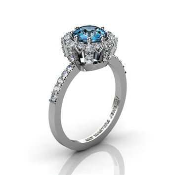 Classic Bridal 14K White Gold 1.0 Ct Aquamarine Diamond Solitaire Ring R408-14KWGDAQ