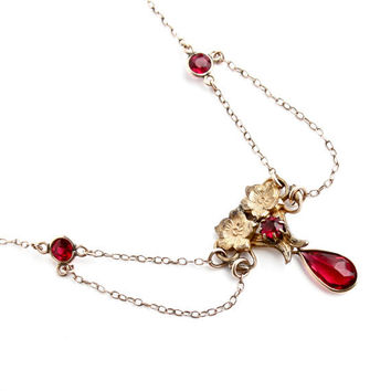 Antique Edwardian Festoon Necklace - Gold Filled Ruby Red Stone Lavalier 1910s Jewelry / Dainty Art Nouveau Suspension