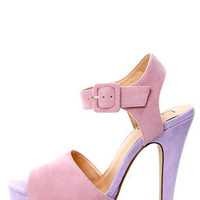 Luichiny April Daze Blush and Lilac Color Block Platform Heels