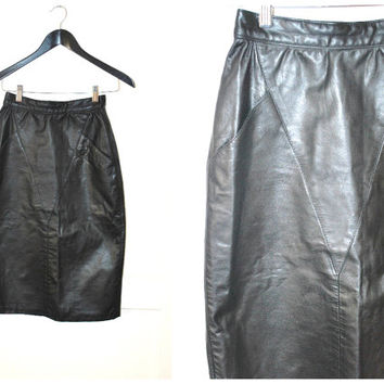 black LEATHER pencil skirt vintage 80s HOURGLASS structured long midi MINIMALIST skirt xs size 5