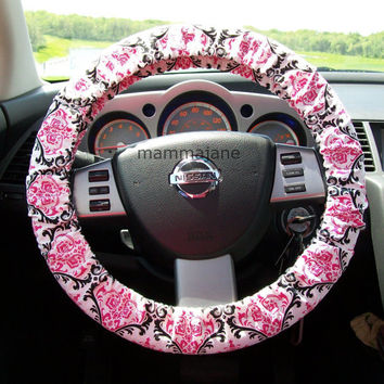 Pink and Black Damask Steering Wheel Cover by mammajane on Etsy