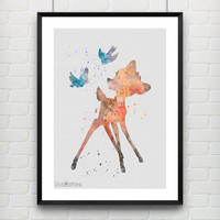 Bambi Watercolor Print, Disney Deer Butterfly Watercolor Art, Baby Nursery, Minimalist Kids Decor Not Framed, Buy 2 Get 1 Free! [No. 1-12]