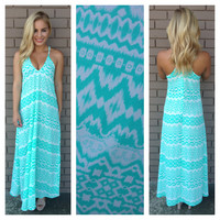 Aqua & White Tribal Princess Maxi Dress