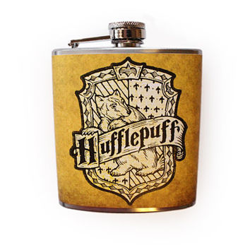 Hufflepuff Badger House Crest Flask Harry Potter Inspired Customizable