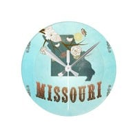 Missouri Map With Lovely Birds Round Clocks