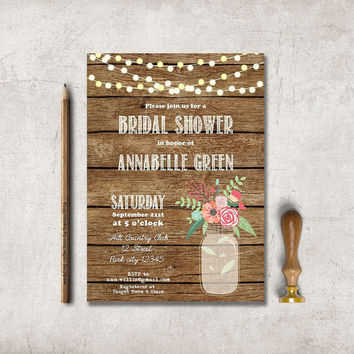 Rustic Bridal Shower Invitation Printable Wedding Birt