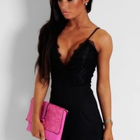 Foxy Black Plunge Lace Overlay Playsuit | Pink Boutique