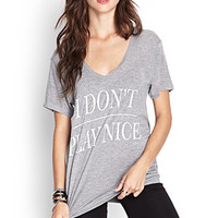 FOREVER 21 Play Nice Heathered Tee Heather Grey/White