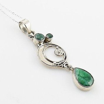 Emerald Sterling Silver Circles Pendant