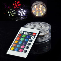 10 LED Submersible Candle Waterproof Remote Control Multicolor Floral Vase Base Light  Wedding Birthday Party Decoration