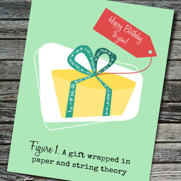Paper and String Theory Nerdy Science Birthday Card | Student, Teacher, Professor, Scientist, Physicist