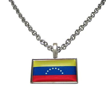 Thin Bordered Venezuela Flag Pendant Necklace