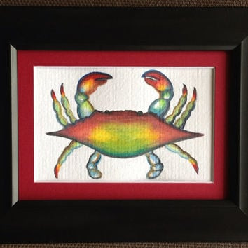 Unframed Watercolored Blue Crab Painting