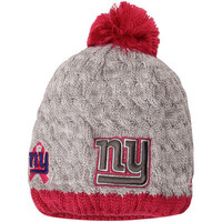Women's New Era Gray/Pink New York Giants Breast Cancer Awareness Knit Beanie