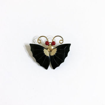 black butterfly brooch. Gothic brooch. celluloid brooch. Lucite butterfly brooch. OOAK brooch