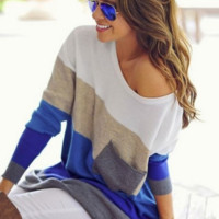 Color Block  Knit Top B0015598