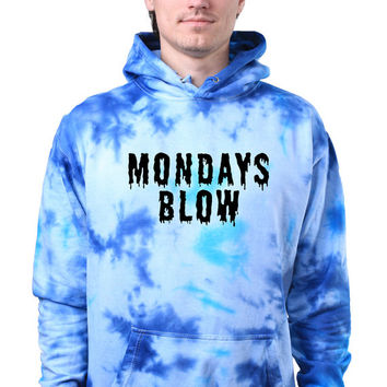 Pastel Grunge Mondays Blow Slogan Tumblr Creepy Cute Acid Wash Tie Dye Hoodie Sweatshirt Jumper