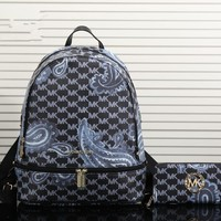 """Michael Kors"" Fashion Casual Personality Print Backpack MK Unisex Large Capacity Travel Double Shoulder Bag Wallet Set Two-Piece"