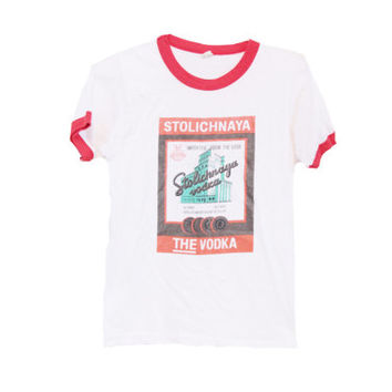 SALE 80s Stolichnaya 'Stoli' Vodka Soft  T-shirt Imported from USSR Screen Stars