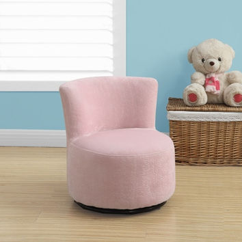 Juvenile Fuzzy Swivel Pink Fabric Chair