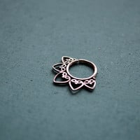 Lotus septum ring for pierced nose / 18g / Ethnic septum / Septum jewelry / Nose jewelry / Tribal body jewelry / Belly dance jewelry