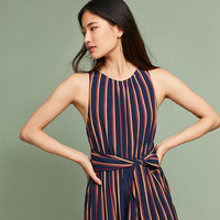 Tie-Front Striped Jumpsuit