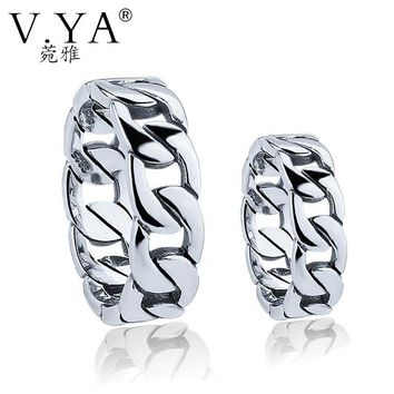 V.YA Couple Rings for Lovers 925 Sterling Silver Rings for Men Women Big Sze 4-13 S925 Link Chain Style Ring Wedding Engagement