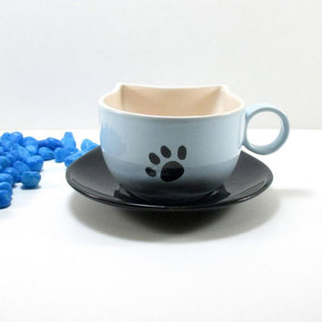 Cup and saucer, ceramic cup and saucer, cat ceramic cup, cat ceramic cup and saucer, cat lovers gift