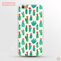 Cactus Plants Collage Painted Ultrathin Soft TPU Back Case Cover Shell for iPhone 5 5s SE 6 6s 6 Plus 6s Plus 7
