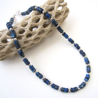 BLACK FRIDAY. Imperial Jasper Necklace. Heishi Necklace. Beaded Jasper Necklace. Sapphire Blue Necklace.