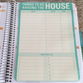 FREE SHIPPING Household Chores & To Do List Laminated Dashboard Insert for Erin Condren Life Planner clips right into coils!