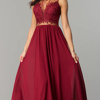 Wine Red Long Prom Dress with Lace Bodice
