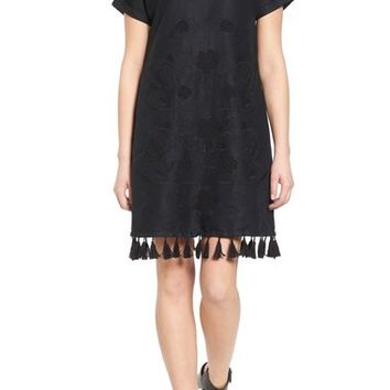 Madewell Embroidered Shift Dress with Tassel Trim   Nordstrom