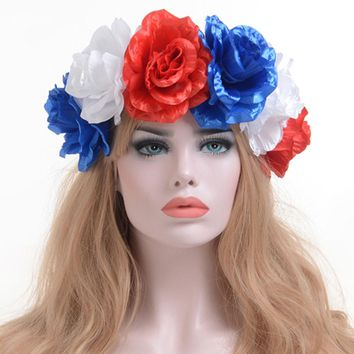 Fashion Big Flower Headbands Women Hair Garland Crown Headband Floral Wreath Hairband accesorios para el pelo